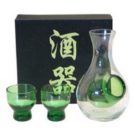 Glass Sake Set Green