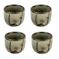 JapanBargain S-2755x4, Set of 4 Japanese Ume Porcelain Sake Cup, 1.5 oz.