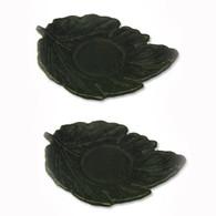 JapanBargain S2115x2, Set of Two Cast Iron Teacup Saucers, Leaf Black