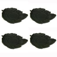 JapanBargain S2115x4, Set of Four Cast Iron Teacup Saucers, Leaf Black