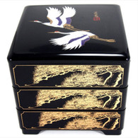 JapanBargain 4119, Japanese Traditional 3 Tiers Lacquer Stack Box Food Candy Container Jubako Made in Japan, Black Crane