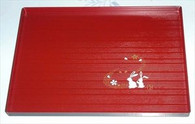 Plastic Rectangle Sushi Plate Bunny Red
