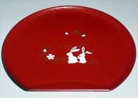 Plastic Half Moon Sushi Plate Bunny Red