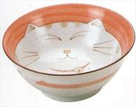 Smiling Pink Cat Porcelain Noodle Bowl 7-1/4in