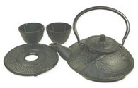 Bamboo Cast Iron Tea Set 21oz Black