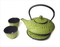 Bamboo Cast Iron Tea Set Lime Yellow