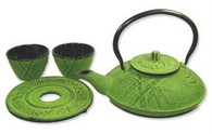 Bamboo Cast Iron Tea Set 21oz Lime
