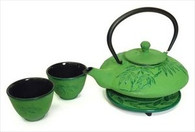 Bamboo Cast Iron Tea Set Lime Green