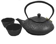 Bamboo Cast Iron Tea Set Black
