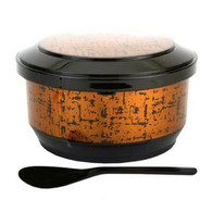 Gold Japanese Rice Serving Container Bowl with Scoop Ohitsu 3-4 Serving for Restaurant or Home