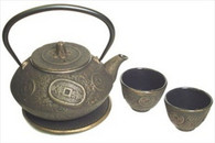 Ancient Coin Cast Iron Tea Set Gold