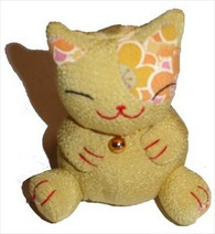 Bean Bag Lucky Cat Yellow