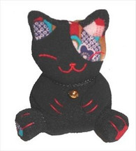 Bean Bag Lucky Cat Black
