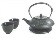 Black Color Cast Iron Tea Set Bamboo