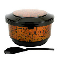 Gold Japanese Rice Serving Container Bowl with Scoop Ohitsu 2-3 Serving for Restaurant or Home