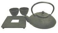 Cast Iron Tea Set with Dragonfly 24oz Black