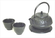 Black Cast Iron Tea Set Bamboo Pine Plum