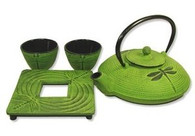 Cast Iron Tea Set with Dragonfly 24oz Lime