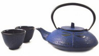 Blue Cast Iron Tea Set Dragonfly