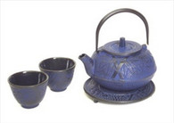 Blue Cast Iron Tea Set Bamboo Pine Plum