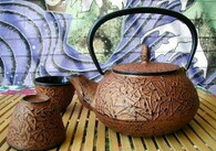 Copper Color Cast Iron Tea Set Pine Needle