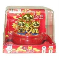 Gold Maneki Neko Family Bobble Head