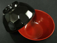 Black/Red Melamine Miso Soup Bowl 4.75in