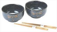 Dragonfly Porcelain Soup Bowl w/Chopsticks Set