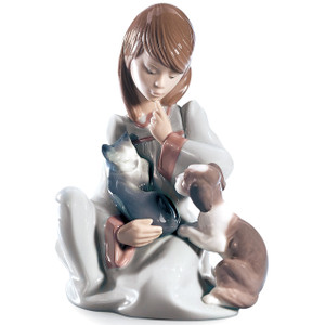Lladro Porcelain Cat Nap Girl Figurine 01005640