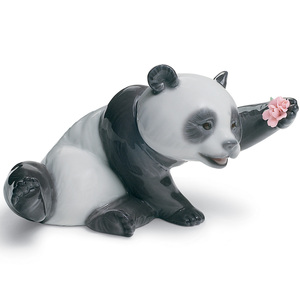 Lladro Porcelain A Jolly Panda Figurine 01008359