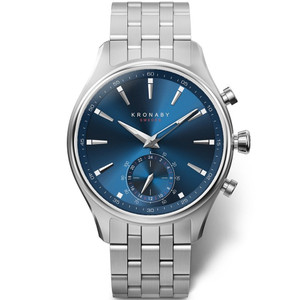 Kronaby Sekel Bluetooth Steptracker Travel Blue Dial Stainless-Steel Bracelet Hybrid Smartwatch A1000-3119