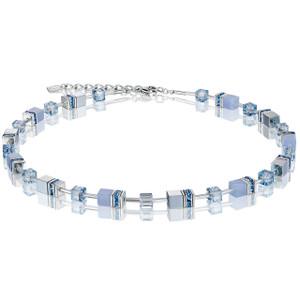 Coeur De Lion GeoCube Stainless-Steel Chalcedony & Haematite Light Blue Necklace 4017-10-0720