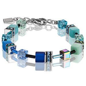 Coeur De Lion GeoCube Stainless-Steel Blue Green Bracelet 2838-30-0705