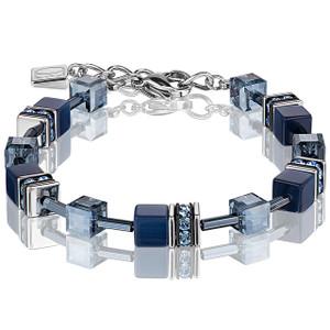 Coeur De Lion GeoCube Stainless-Steel Navy Blue Bracelet 4322-30-0722