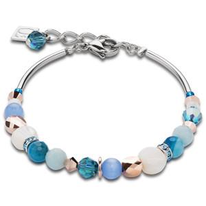 Coeur De Lion Swarovski Crystals, Amazonite & Striped Agate Turquoise Blue Bracelet 4914-30-0607