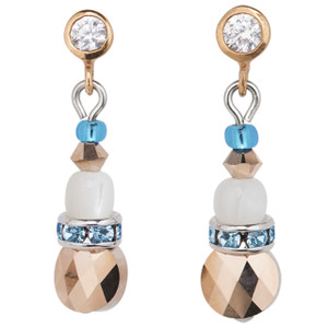 Coeur De Lion Swarovski Crystals, Amazonite & Striped Agate Turquoise Blue Drop Earrings 4914-21-0607