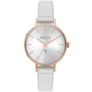 Acctim Bonny Women's Radio Controlled White Leather Strap Watch 60512