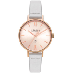 Acctim Bonny Women's Radio Controlled White Leather Strap Watch 60520