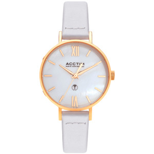 Acctim Bonny Women's Radio Controlled White Leather Strap Watch 60522