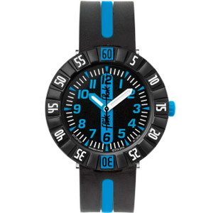 Flik Flak Blue Ahead Children's Quartz Black Dial Watch FCSP031