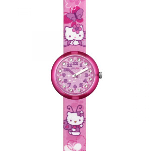 Flik Flak Hello Kitty Butterfly Children's Quartz Pink Strap Watch FLNP005
