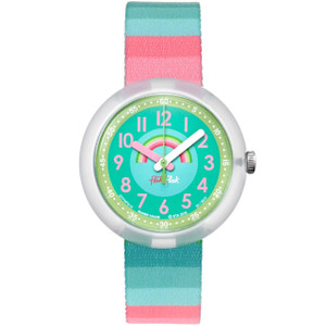 Flik Flak Stripy Dreams Children's Quartz Green Dial Watch FPNP014