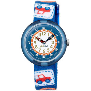 Flik Flak Camping Badge Blue Children's Quartz Blue Strap Watch FBNP094