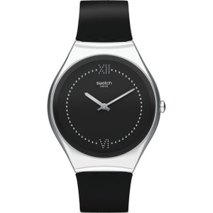Swatch Skin Irony Skinalliage Unisex Quartz Black Dial Leather Strap Watch SYXS109