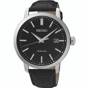 Seiko Automatic Mechanical Date Display Black Dial Black Strap Classic Watch SRPA27K1