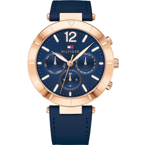 Tommy Hilfiger Women's Chloe Navy Blue Dial Leather Strap Watch 1781881