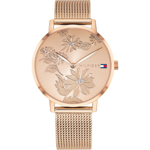 Tommy Hilfiger Women's Pippa Floral Rose Gold Mesh Bracelet Watch 1781922