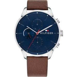 Tommy Hilfiger Men's Chase Navy Dial Leather Strap Watch 1791487