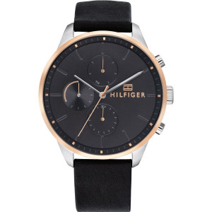 Tommy Hilfiger Men's Chase Black Dial Leather Strap Watch 1791488