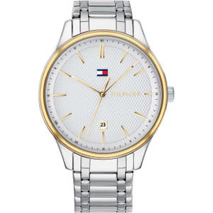Tommy Hilfiger Men's Damon Silver And White Dial Stainless-Steel Bracelet Watch 1791491